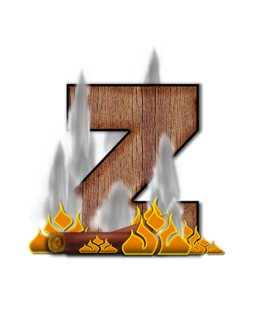 burning alphabet: The letter Z, in the alphabet set Burning, is created to look like a piece of lumber surrounded by flames and smoke. Wood grained letter is outlined in black. Stock Photo