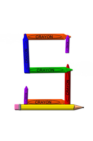 stacked: S, in the alphabet set crayons, is formed from stacked and and turned 3D crayons.  Crayons are in the primary colors found in a crayon box.