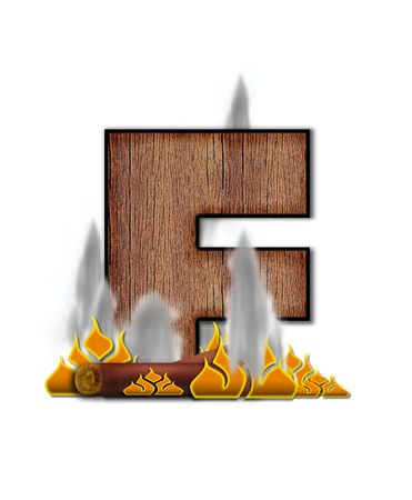 burning alphabet: The letter F, in the alphabet set Burning, is created to look like a piece of lumber surrounded by flames and smoke. Wood grained letter is outlined in black.