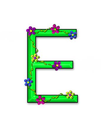 """pallette: Alphabet letter E, dans l'ensemble """"Bursting Blooms"""" est un vert brillant. Les fleurs et les fleurs montent et décorer chaque lettre dans une pallette de couleurs vives."""