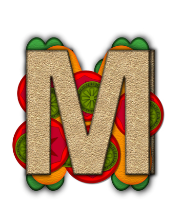 deli sandwich: The letter M, in the alphabet set Deli Lunch, resembles bread with inside layers of cheese, tomatoes, and pickles.