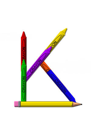 K, in the alphabet set crayons, is formed from stacked and and turned 3D crayons.  Crayons are in the primary colors found in a crayon box.