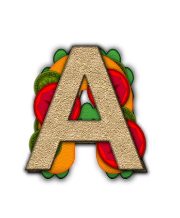 deli sandwich: The letter A, in the alphabet set Deli Lunch, resembles bread with inside layers of cheese, tomatoes, and pickles.