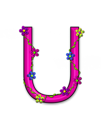 fun  twining: The letter U, in the alphabet set Bursting Blooms, is an hot pink letter.  Flowers, vines and daisies twine around 3D letter in vibrant and fun colors. Stock Photo