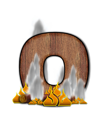 burning alphabet: The letter O, in the alphabet set Burning, is created to look like a piece of lumber surrounded by flames and smoke. Wood grained letter is outlined in black.