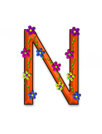 The letter N, in the alphabet set Bursting Blooms, is an orange letter.  Flowers, vines and daisies twine around 3D letter in vibrant and fun colors.