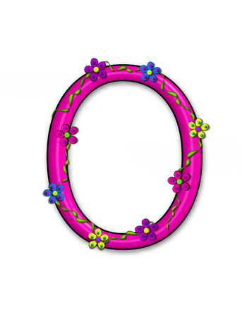 fun  twining: The letter O, in the alphabet set Bursting Blooms, is a pink letter.  Flowers, vines and daisies twine around 3D letter in vibrant and fun colors.