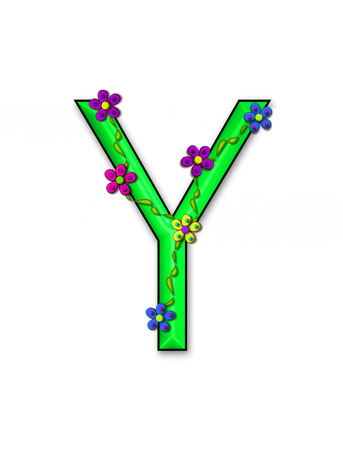 fun  twining: The letter Y, in the alphabet set Bursting Blooms, is a green letter.  Flowers, vines and daisies twine around 3D letter in vibrant and fun colors. Stock Photo