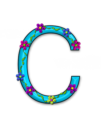 Alphabet letter C,  in the set Bursting Blooms is is an aqua letter.  Flowers and blooms climb and decorate each letter in a pallette of bright colors.