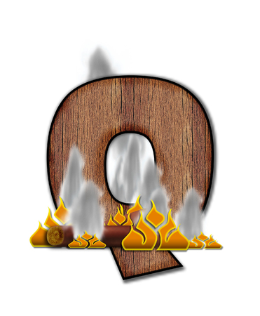 burning alphabet: The letter Q, in the alphabet set Burning, is created to look like a piece of lumber surrounded by flames and smoke. Wood grained letter is outlined in black.