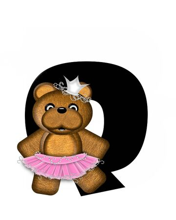The letter Q, in the alphabet set Ballerina Princess is bright black.  Letter is decorated brown bear wearing a pink tutu and jeweled crown.