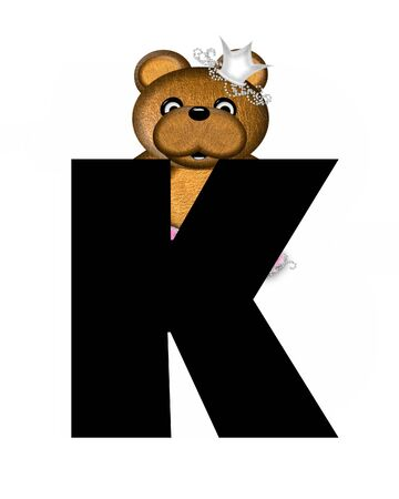 jeweled: The letter K, in the alphabet set Ballerina Princess is bright black.  Letter is decorated brown bear wearing a pink tutu and jeweled crown.