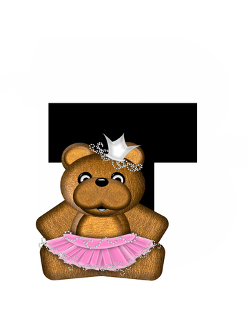 The letter T, in the alphabet set Ballerina Princess is bright black.  Letter is decorated brown bear wearing a pink tutu and jeweled crown.
