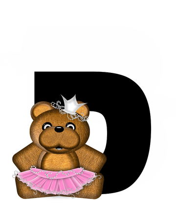 The letter D, in the alphabet set Ballerina Princess is bright black.  Letter is decorated brown bear wearing a pink tutu and jeweled crown.