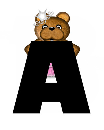 The letter A, in the alphabet set Ballerina Princess is bright black.  Letter is decorated brown bear wearing a pink tutu and jeweled crown.