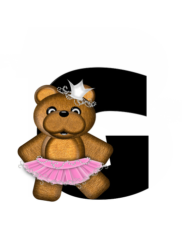 The letter G, in the alphabet set Ballerina Princess is bright black.  Letter is decorated brown bear wearing a pink tutu and jeweled crown.