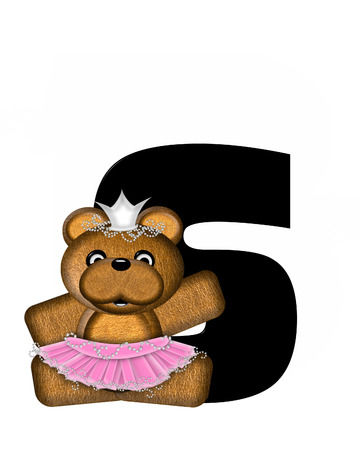 bear s: The letter S, in the alphabet set Ballerina Princess is bright black.  Letter is decorated brown bear wearing a pink tutu and jeweled crown.