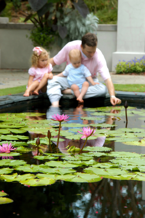 Father teaches his small children about water lillies at a pool in the Birmingham Botanical Gardens in Alabama.  Baby sits in his lap and little girl leans in close to Dad. photo