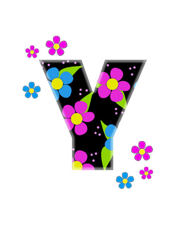 The letter Y, in the alphabet set Flower Topia, is black and filled with big pink and blue flowers.  Same flowers decorate outside edges of Letter. Stok Fotoğraf