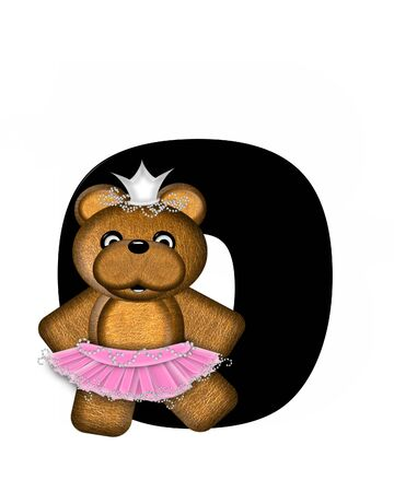 The letter O, in the alphabet set Ballerina Princess is bright black.  Letter is decorated brown bear wearing a pink tutu and jeweled crown.