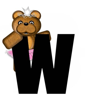 jeweled: The letter W, in the alphabet set Ballerina Princess is bright black.  Letter is decorated brown bear wearing a pink tutu and jeweled crown.