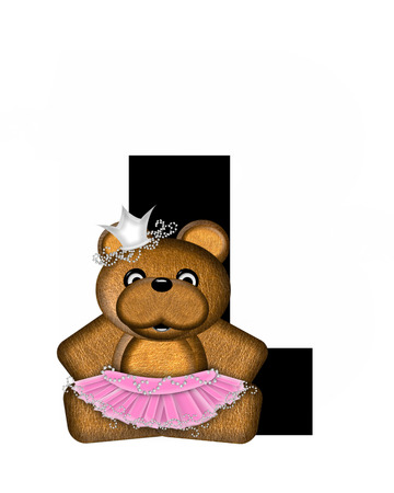 The letter L, in the alphabet set Ballerina Princess is bright black.  Letter is decorated brown bear wearing a pink tutu and jeweled crown.