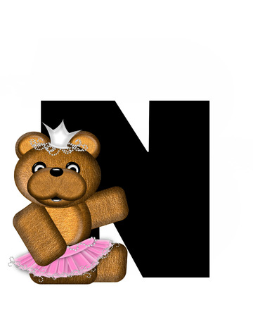 beauty pageant: The letter N, in the alphabet set Ballerina Princess is bright black.  Letter is decorated brown bear wearing a pink tutu and jeweled crown. Stock Photo