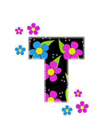 The letter T, in the alphabet set Flower Topia, is black and filled with big pink and blue flowers.  Same flowers decorate outside edges of Letter.