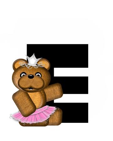 animal tutu: The letter E, in the alphabet set Ballerina Princess is bright black.  Letter is decorated brown bear wearing a pink tutu and jeweled crown.