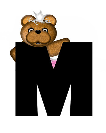 beauty pageant: The letter M, in the alphabet set Ballerina Princess is bright black.  Letter is decorated brown bear wearing a pink tutu and jeweled crown.