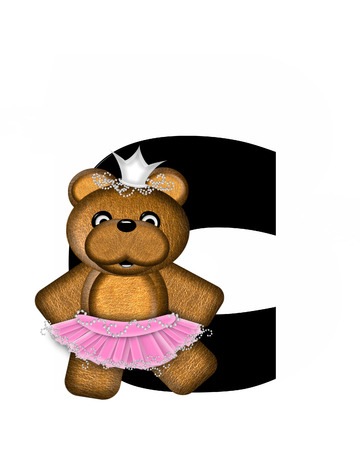 beauty pageant: The letter C, in the alphabet set Ballerina Princess is bright black.  Letter is decorated brown bear wearing a pink tutu and jeweled crown.