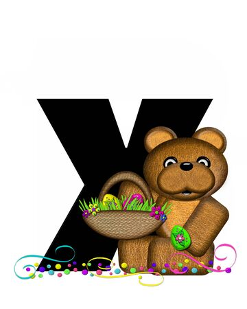 The letter X, in the alphabet set Alphabet Teddy Easter Party, is black and decorated with bear, Easter basket, confetti and swirls.
