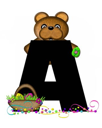 The letter A, in the alphabet set Alphabet Teddy Easter Party, is black and decorated with bear, Easter basket, confetti and swirls. Stock Photo