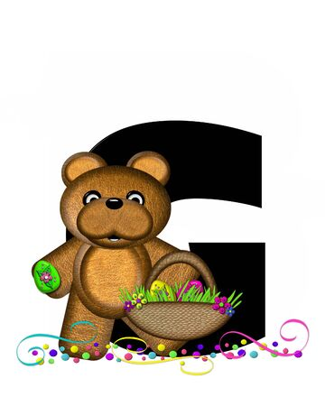 The letter G, in the alphabet set Alphabet Teddy Easter Party, is black and decorated with bear, Easter basket, confetti and swirls.