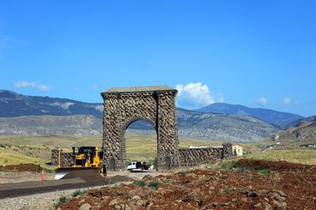 Entry through the Roosevelt Arch, in Yellowstone National Park, is diverted while repairs and roadwork improves North Entrance.