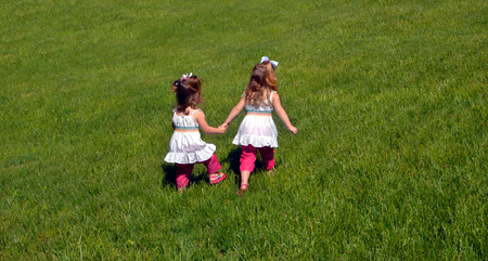 Two sisters walk across a grassy field.  The older sibling is in the lead showing leadership qualities.  The younger one follows.  They both are holding hands. photo