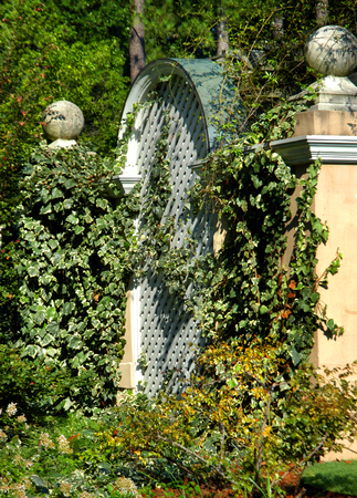 Garden Gate Has Swinging Gates And Sunshine. Arches From Gate ...