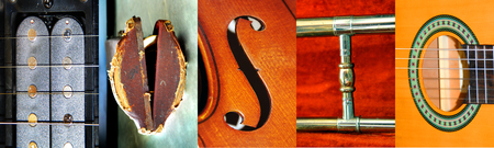 Letter photographs form the word MUSIC.  Letters are taken from trombone, trombone case, guitar, and violin. Stock Photo