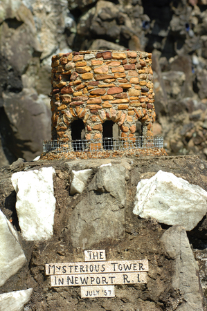Display of the Mysterious Tower in Rhode Island is composed of stone and concrete and is part of the Ave Maria Grotto in Cullman, Alabama.