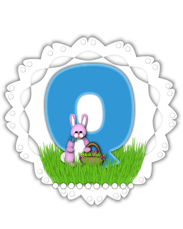 The letter Q, in the alphabet set Easter Bunny Field, is turquoise blue with soft edges.  It sits on a lacy doily and has an Easter Bunny and basket on green grass. Stock Photo