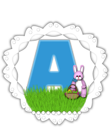 The letter A, in the alphabet set Easter Bunny Field, is turquoise blue with soft edges.  It sits on a lacy doily and has an Easter Bunny and basket on green grass.