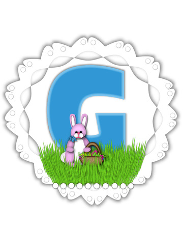 The letter G, in the alphabet set Easter Bunny Field, is turquoise blue with soft edges.  It sits on a lacy doily and has an Easter Bunny and basket on green grass. Stock Photo