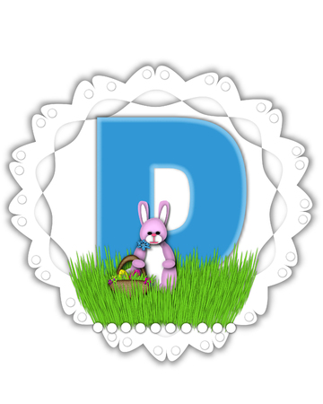 The letter D, in the alphabet set Easter Bunny Field, is turquoise blue with soft edges.  It sits on a lacy doily and has an Easter Bunny and basket on green grass.