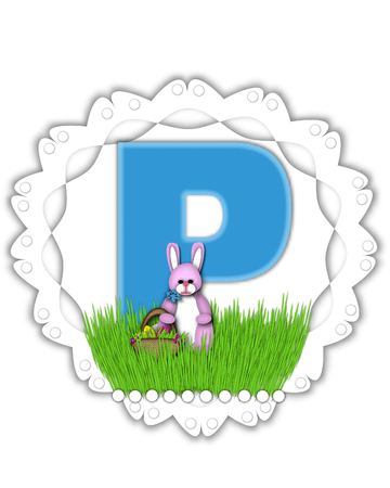 The letter P, in the alphabet set Easter Bunny Field, is turquoise blue with soft edges.  It sits on a lacy doily and has an Easter Bunny and basket on green grass. Stock Photo