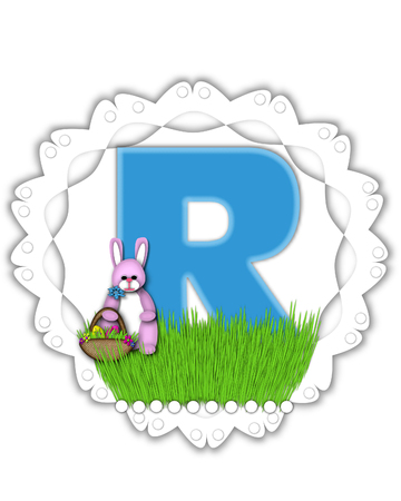 The letter R, in the alphabet set Easter Bunny Field, is turquoise blue with soft edges.  It sits on a lacy doily and has an Easter Bunny and basket on green grass.