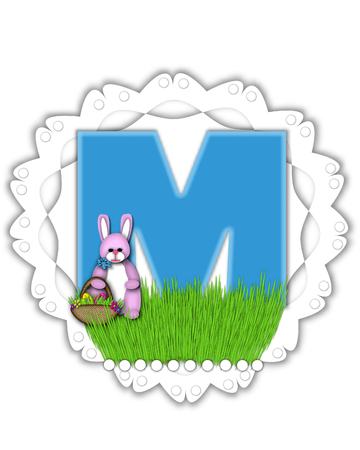 The letter M, in the alphabet set Easter Bunny Field, is turquoise blue with soft edges.  It sits on a lacy doily and has an Easter Bunny and basket on green grass.