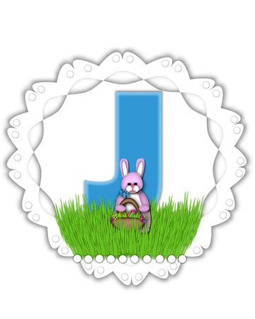 The letter J, in the alphabet set Easter Bunny Field, is turquoise blue with soft edges.  It sits on a lacy doily and has an Easter Bunny and basket on green grass. Stock Photo
