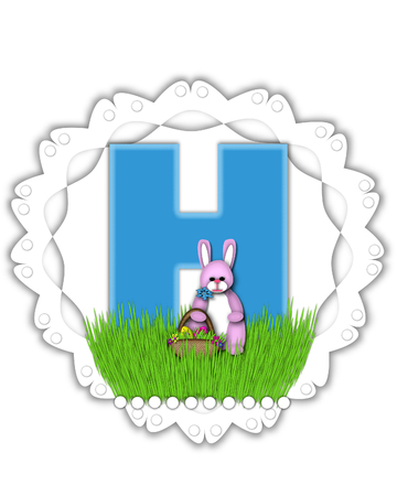 The letter H, in the alphabet set Easter Bunny Field, is turquoise blue with soft edges.  It sits on a lacy doily and has an Easter Bunny and basket on green grass. Stock Photo