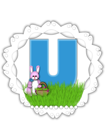 The letter U, in the alphabet set Easter Bunny Field, is turquoise blue with soft edges.  It sits on a lacy doily and has an Easter Bunny and basket on green grass.