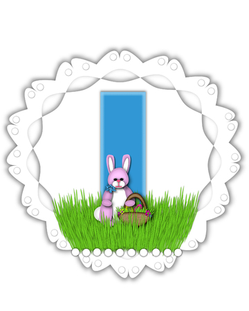 The letter I, in the alphabet set Easter Bunny Field, is turquoise blue with soft edges.  It sits on a lacy doily and has an Easter Bunny and basket on green grass. Stock Photo